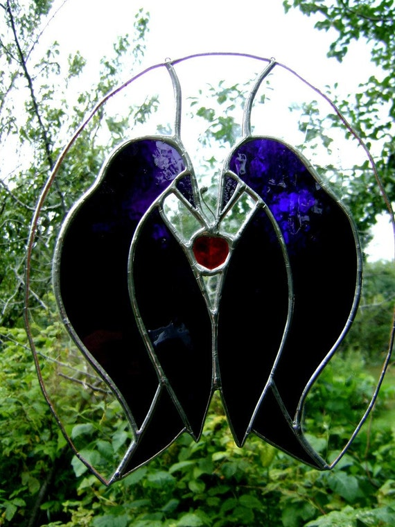 Crow Raven Cherries Easter Wedding Mothers Fathers Day Primitive Art Glass Panel Housewarming Wedding Birthday Anniversary Christmas OOAK