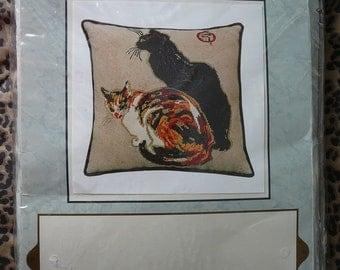 NIP ' A La Bodiniere ' --- Cats Needlepoint Kit Steinlen Artwork Repro /RARE