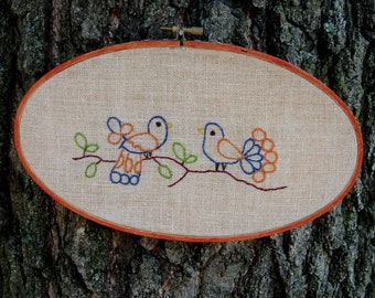 Wall Hanging Bird Embroidered Linen Spring Decor Orange Blue Gold
