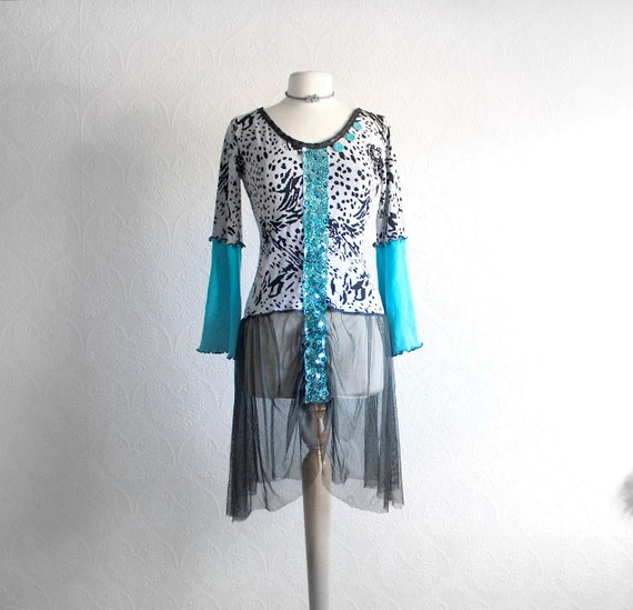 Animal Print Long Sweater Sheer Black Top Turquoise Blue Bohemian Clothes Upcycled Clothing Low Back Eco Friendly Medium 'STEPH'