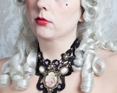 Young Marie Antoinette choker - Lace Black Necklace Pearls Collar Portrait Roses