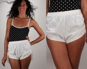 Vintage High Waist Ruched White Shorts / Side Tie