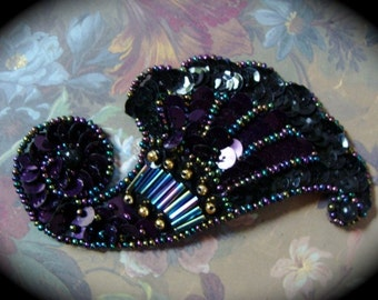 Antique Victorian Black Beaded Applique