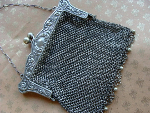 Antique Engraved  Silver Mesh Victorian Edwardian Purse