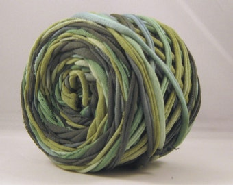 T Shirt Yarn Hand Dyed 60 yards - Jungle Apple/Kelly Green/Dark Green