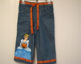 Custom Disney clothing Painted Princess Halloween jeans Choice of ONE Belle or Cinderella in sizes 12 - 24 m, 2T/2 - 12