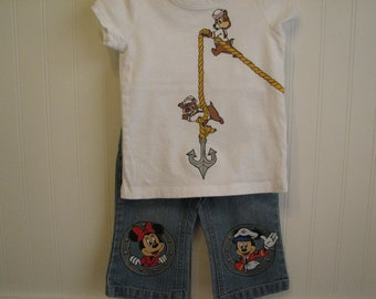 Disney clothing custom Minnie, Mickey, Chip, Dale cruise shirt n jean set choice of characters - Sizes 6 to 24 months ,2T,3,4,5,6,7,8,9,10