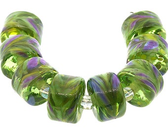 Lampwork Beads, 6 Handmade Transparent Lime Green, Purple and Lavender Glass Lampwork Rolo Drop Beads, Made to Order, Bims Bangles,