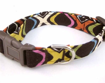 Fabric Dog Collar Handmade Brown with Bright Colors