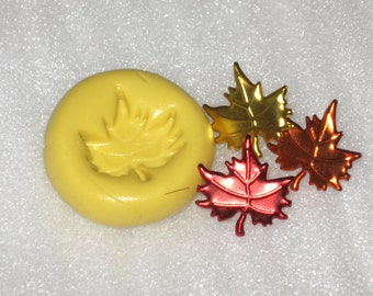 Flexible Push Mold Mould Polymer Clay Resin Fondant Autumn Fall Leaf Charm Cab