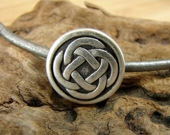 Celtic Knot - Unique  Metal Shank Button - 3 Pieces - Perfect For Leather Wrap Bracelets - Large - B41