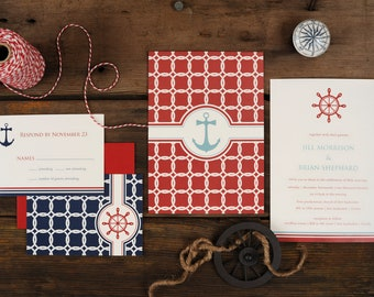 Nautical Wedding Invitations - Anchor Knots Sea Sail Blue Compass