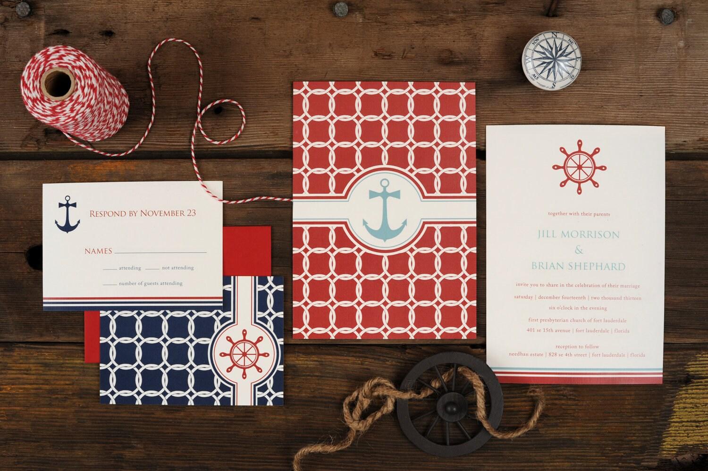 Sailboat Wedding Invitations: Nautical Wedding Invitations Anchor Knots Sea Sail Blue