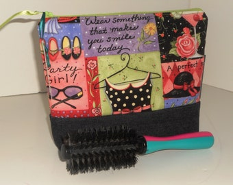 Zippered Party Girl Travel/Storage/Organizer MEDIUM Cosmetic/Toiletry Bag