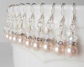 Light Pink Bridal Earrings, Pearl Earrings, Pearl and Crystal Jewelry, Bridesmaid Earrings, Pale Pink Earrings, Bridesmaid Gifts