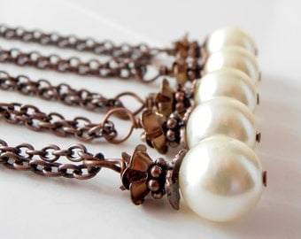 Bridesmaid Jewelry Ivory and Brown Necklace Pearl Pendant Flower Jewelry Beaded Necklace Wedding Jewellery Bridesmaid Gift Vintage Style