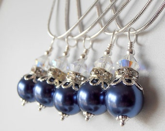Midnight Blue Bridesmaid Jewelry Dark Blue Pearl Necklace Beaded Pendant Pearl and Crystal Wedding Jewelry Sets Bridesmaid Necklaces