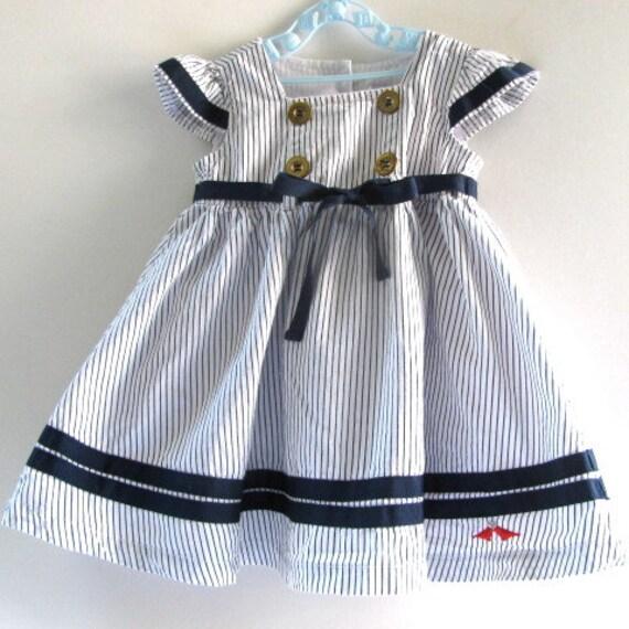 Vintage Sailor Inspired Toddler Dress, 18 Months, Striped, Gross Grain Ribbon, Cap Sleeves. Lilybird