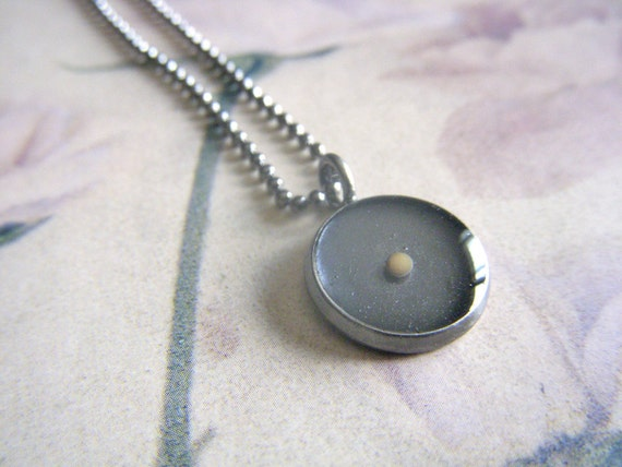 mustard seed necklace...antique silver mustard seed pendant  with matching ball chain necklace
