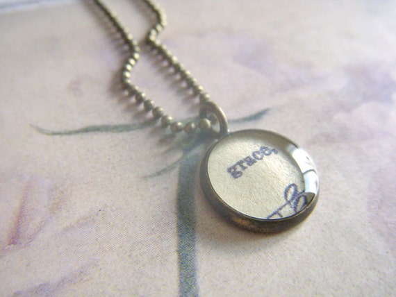 grace - vintage hymnal music- antique bronze resin pendant with ball chain necklace