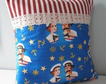 Nautical Sailor Sweethearts Cushion / Pillow cover OOAK