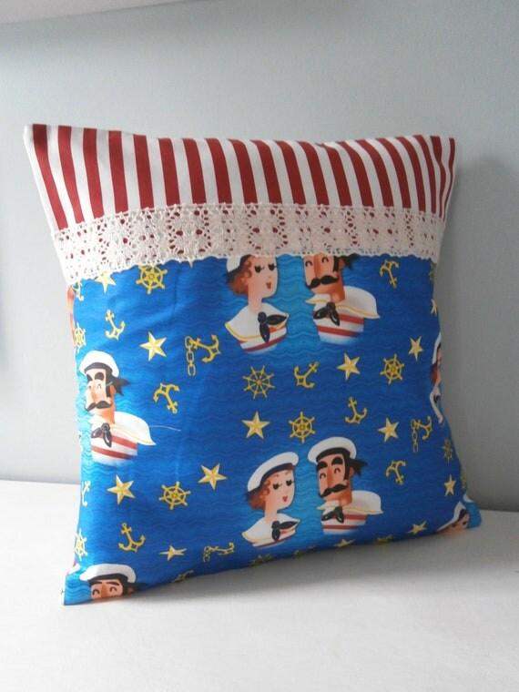 Nautical Sailor Sweethearts Cushion / Pillow cover OOAK