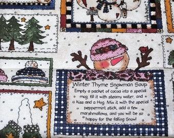 Fat Quarter Cute Snowmen Winter Patchwork Fabric