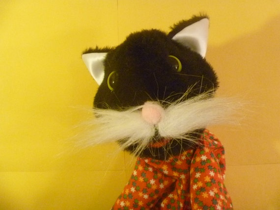 Black Kitty Cat in Red Calico Vintage Shirt Hand Puppet