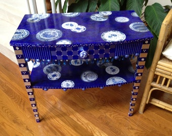 Whimsical Table, Painted and Decoupaged with Blue Willow Motif