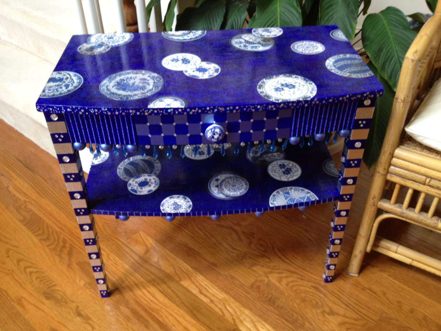 Whimsical Table Painted And Decoupaged With Blue Willow Motif