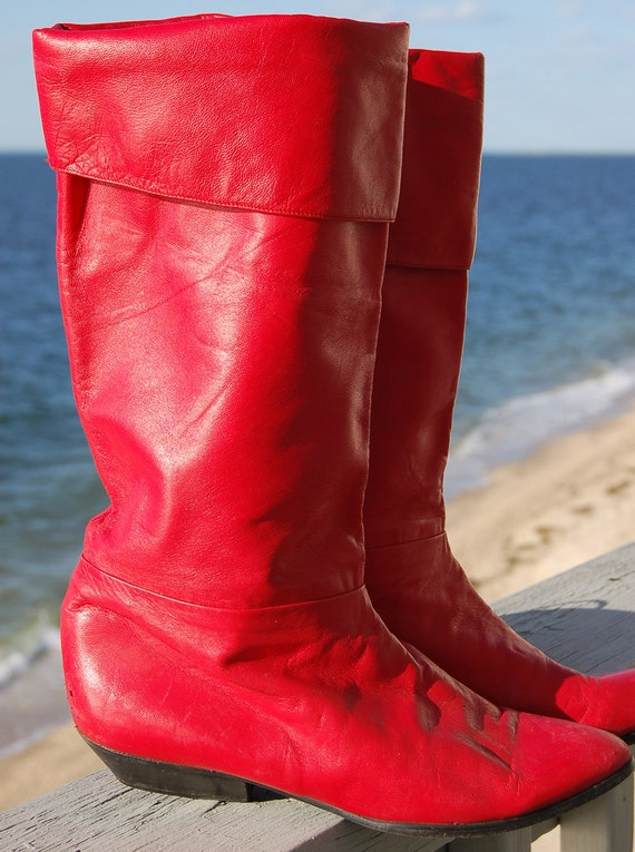 Vintage 80s BOOTS Red Hot LEATHER Mid Calf Size 7M