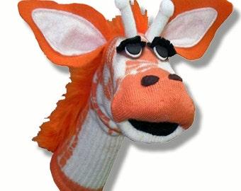 SALE Handmade Toy Giraffe Sock Puppet