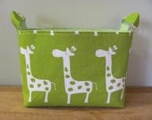 LARGE Fabric Organizer Basket Storage Container Bin Bucket Bag Diaper Diapers Holder Home Decor- Size Large- Green Giraffes