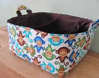 NEW Fabric Diaper Caddy - Fabric organizer storage bin basket - Urban Zoologie Monkey Neutral