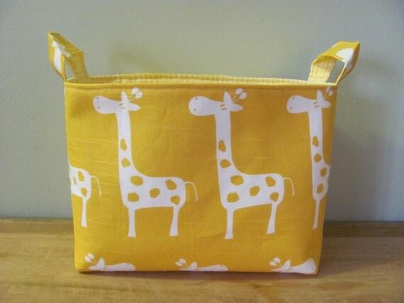 LARGE Fabric Organizer Basket Storage Container Bin - Size Large - Yellow Giraffes