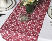 Burgundy Lace Table Runner Wedding Table Runner