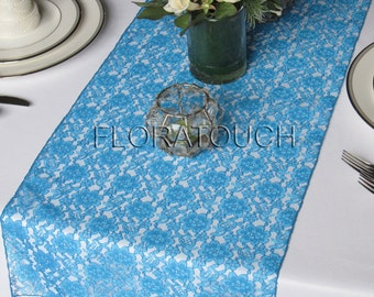 Turquoise Lace Table Runner Wedding Table Runner