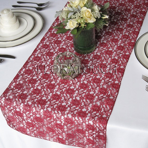 Wedding Table Table Lace Runner Runner runner Burgundy overhang  table