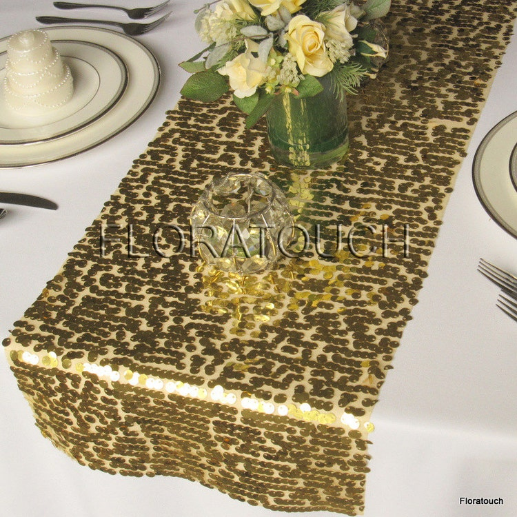 Gold Sparkling Sequin Table Runner Wedding Table By Floratouch