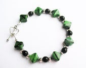Green and Black Bracelet - Beautiful Green Beads with Black and Silver Spacers