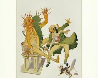 1908 John Neill The Wizard Strikes Antique Oz Book Illustration