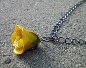 Free Shipping REAL Delicate Yellow ROSE BUD Adjustable Gun Metal or Sterling Silver Chain Necklace