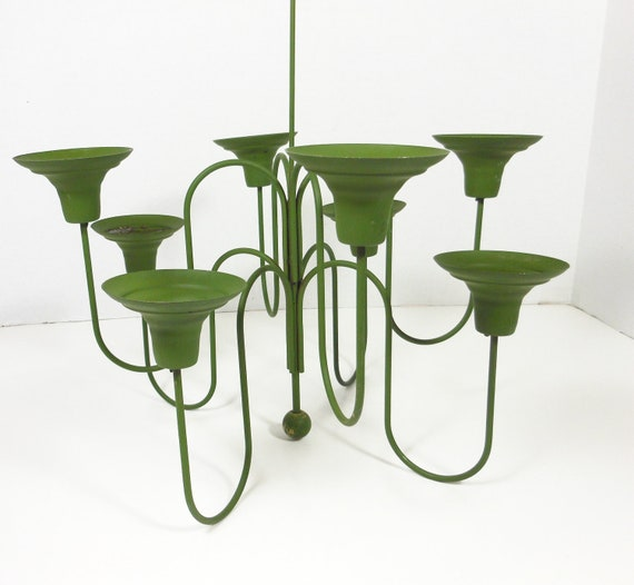 Vintage Chandelier Candelabra Candle Holder AVOCADO Green Metal Chain Retro Home Decor PeachyChicBoutique on Etsy