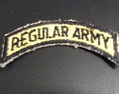 Vintage Regular Army Patch Arch Shaped Black and Yellow