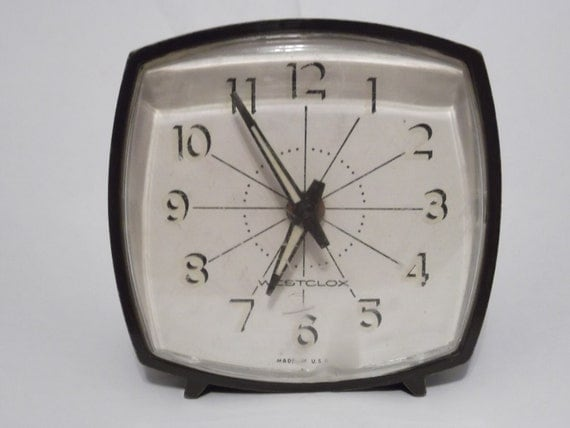 Vintage Alarm Clock Brown Plastic Wind Up Glow in the Dark Westclox Made in USA 1970s Retro Home Decor