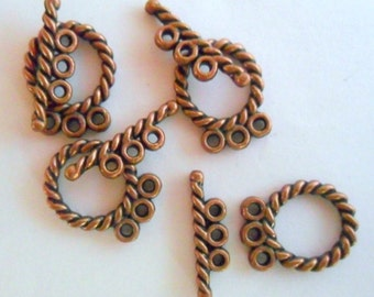 4 Triple Hole Toggle Clasps, Antique Copper Lead Free Pewter