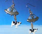 UFO Earrings Alien Abduction of Cows, Black and White, Extraterrestrial Flying Saucer