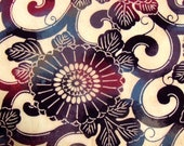 FREE SHIPPING in 2012 (USA only) -Vintage Japanese Wool Kimono fabric panel -  Cream background with Arabesque Scrolling- 62 inches