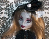 Black and Glitter Striped Skull Fascinator Hat MONSTER HIGH Barbie BJD