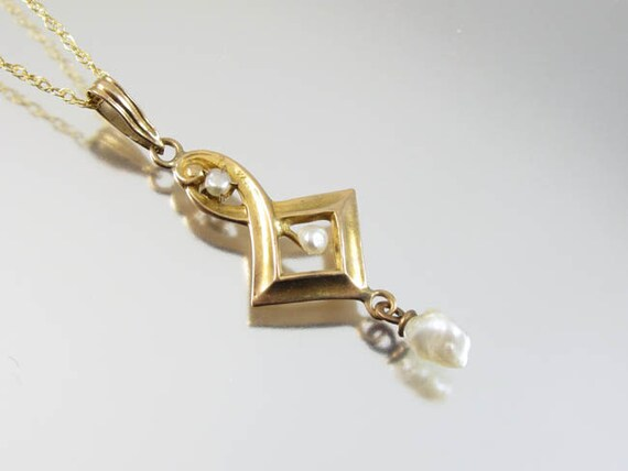 Antique Edwardian 10k gold pearl lavalier pendant necklace